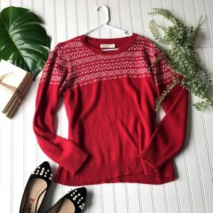 Red & white cozy holiday layering sweater